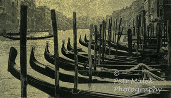A Gum Oil Image or Rows of gondolas along the Grand Canal Venice.